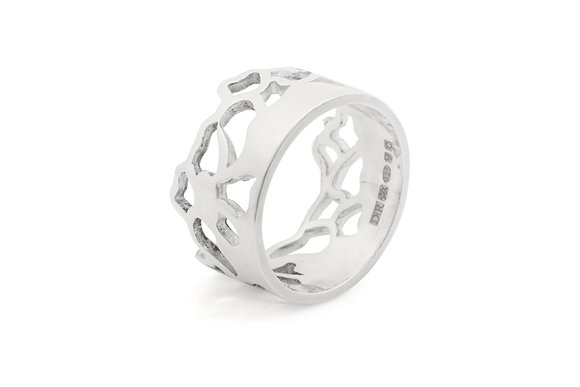 wide embroidery ring in sterling silver