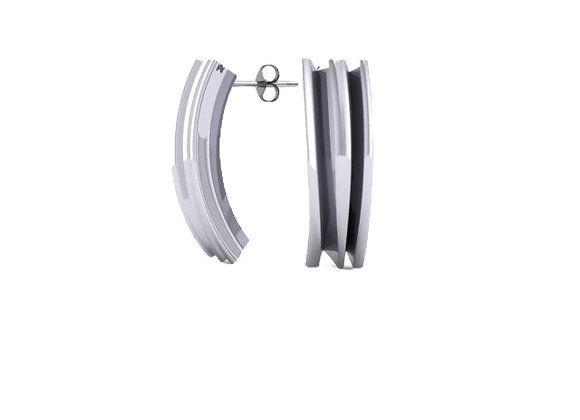 fold earrings in silver and black rhodium