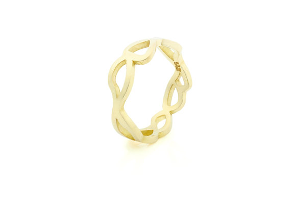 slim embroidery ring in 18ct gold vermeil