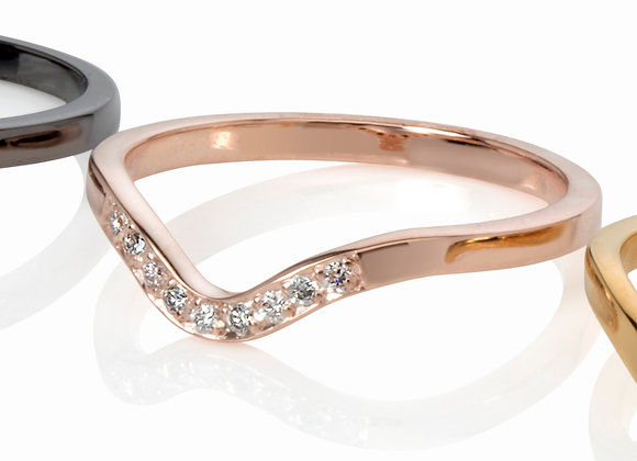 deco stacking ring in gold with diamonds