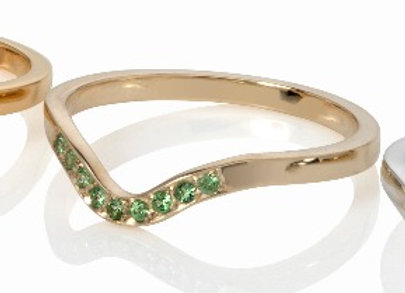 deco stacking ring - gold with tsavorite garnets