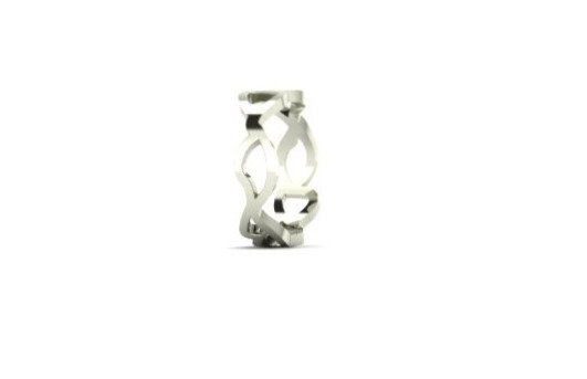 slim embroidery ring in 9ct white gold