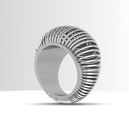 Winter bombe ring in sterling silver
