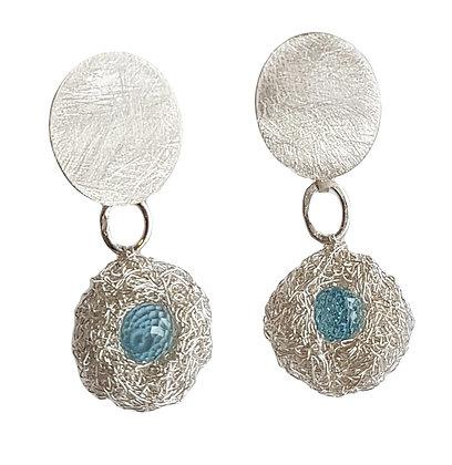 pod earrings with topaz - silver