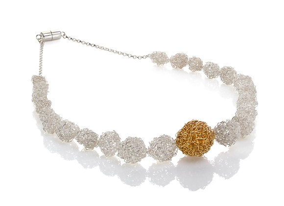 ball necklace - silver and gold