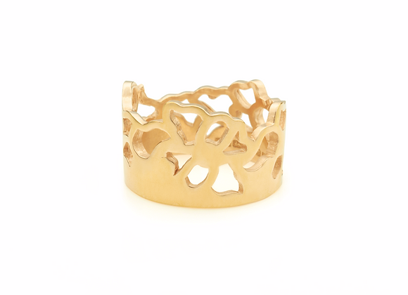 wide embroidery ring in 18 ct gold vermeil
