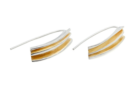 fold earrings in silver with gold vermeil