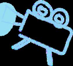 Câmera azul brilhante de vídeo velha esc