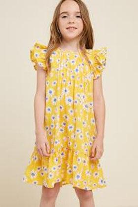 Cassie Yellow Ruffle Sleeve Swing Dress