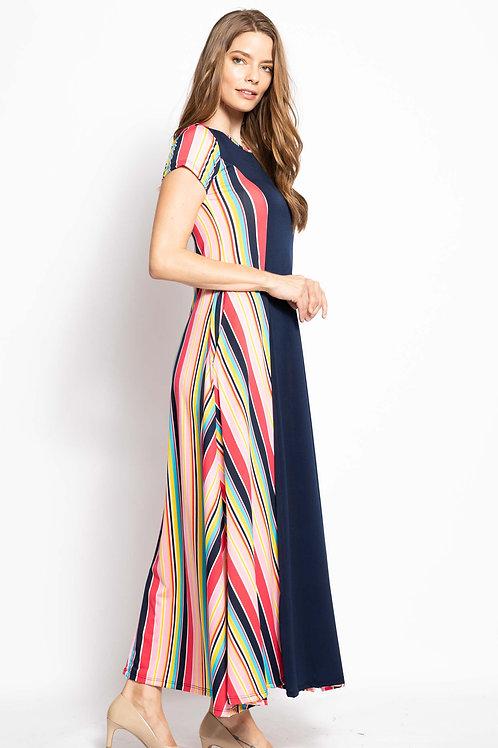 Emma Pink Multi-Color Striped Dress