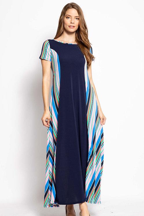 Elan Blue Multi-Colored Striped Dress