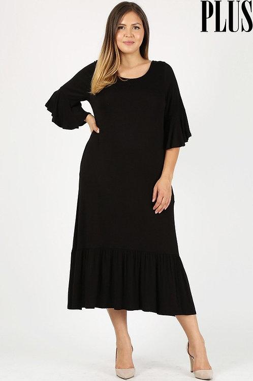 Julia Black Flare Sleeve Dress