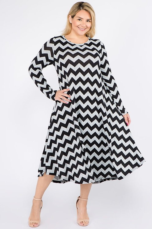 Rose Black Chevron Dress