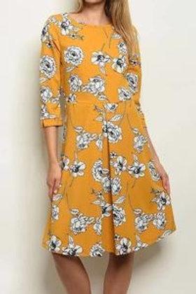 Jane Mustard Floral Dress