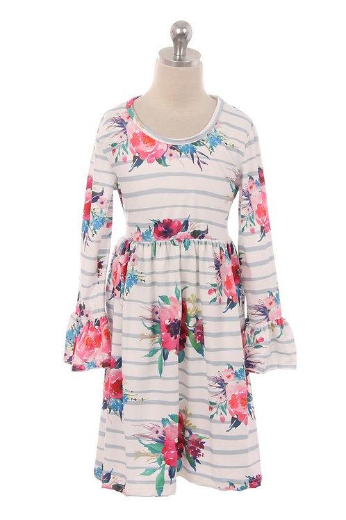 Ashley Floral/Striped Girls Dress