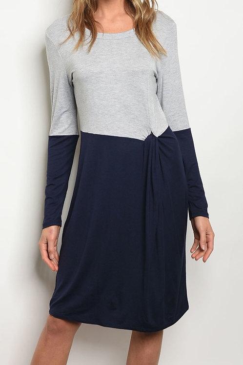 Macey Navy Blue and Grey Block Dress