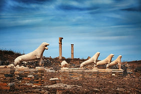 Terrace of the Lions in Historical Ruins