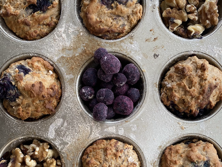 Blueberry Lemon Oat Muffins (Vegan, Refined Sugar & Gluten Free)