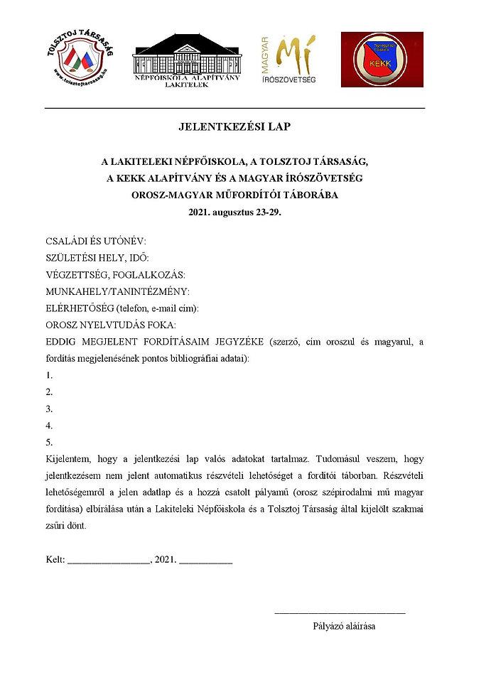 Orosz-magyar tábor - Jelentkezési lap 20