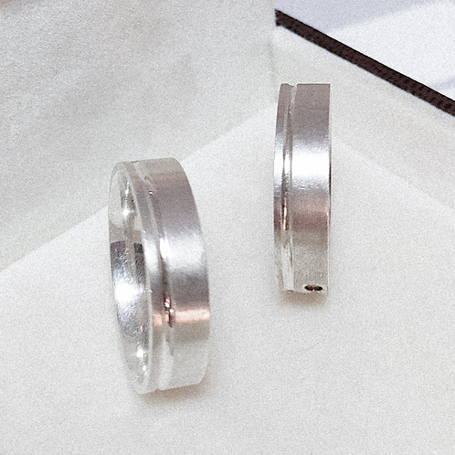 Par de Aliança de Prata 6mm - Corte Lateral fino