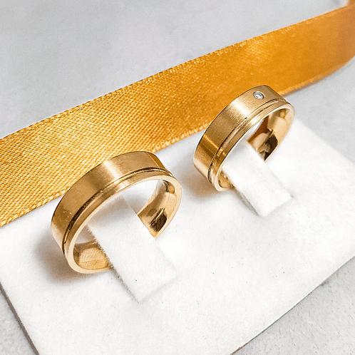 Par de Aliança de Ouro 18k (6mm) - Com um corte e Brilhante