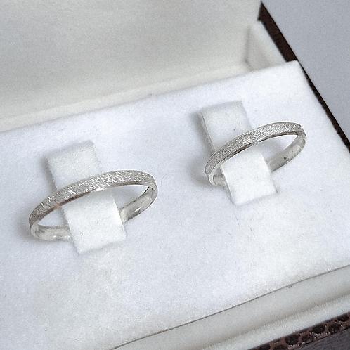 Par de Aliança de Prata 3mm - 3 Face Diamantada