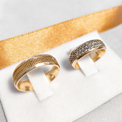 Par de Aliança de Ouro 18k ( 6mm ) - Pontos e Pedras