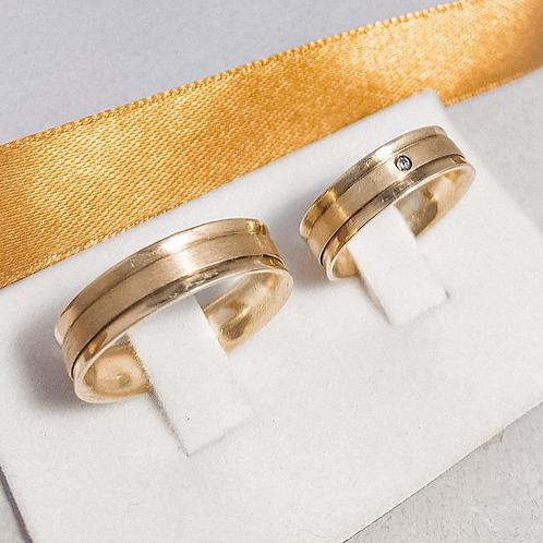 Par de Aliança de Ouro 18k (7mm) - Côncava e chapa de ouro