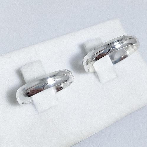 Par de Aliança de Prata (5mm)  - Corte Fino central