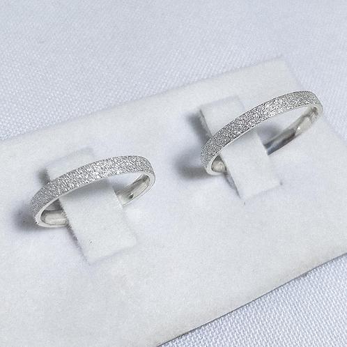 Par de Aliança de Prata (3mm) - Diamantada