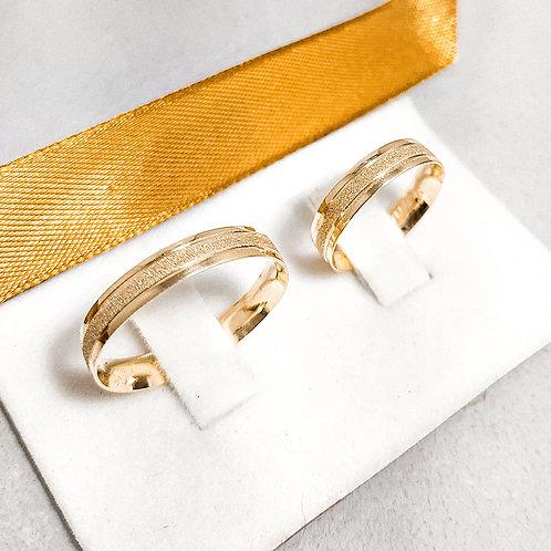 Par de Aliança de Ouro 18k (4mm) - 3 Face Diamantada