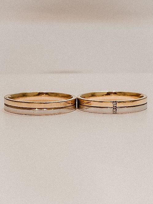 Par de Aliança de Ouro 18k (4mm) - Dois ouros amarelo e branco.