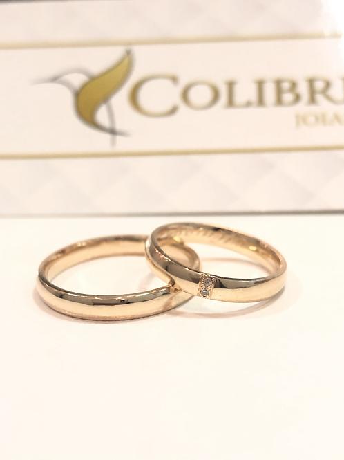 Par de Aliança de Ouro 18k (4mm) - Abaulada com 2 pedras diamantes
