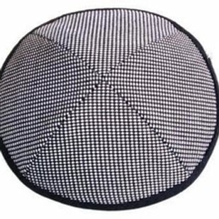 Black and white formal hounds-tooth kippah