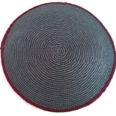 Gray knit kippah with burgundy rim