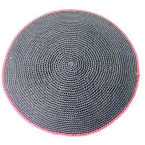 Gray kippah with pink rim