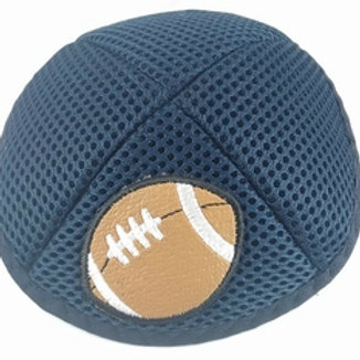 Navy Mesh Kippah with Football Applique