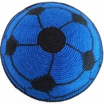Blue and black knit soccer kippah top
