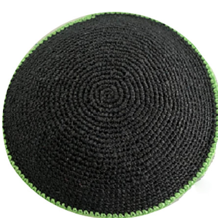 Black kippah with Apple Green Rim