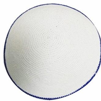 White Kippah with Blue Rim