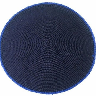 Navy Kippah with Royal Rim