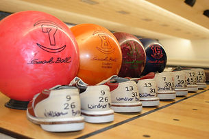 Bowling balls and shoes for parties