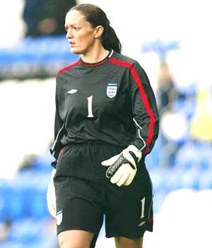 Pauline Cope playing for England