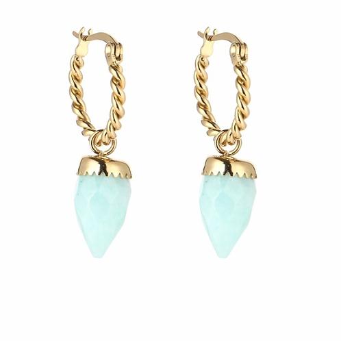 Twisted Stone Earrings Mint G