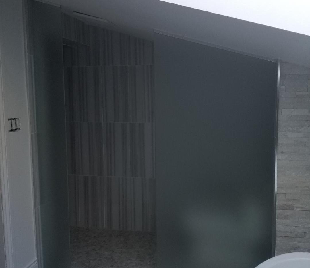 Floor to Ceiling Custom Angled Glass