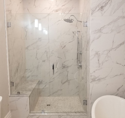 Custom Glass Shower with Bench