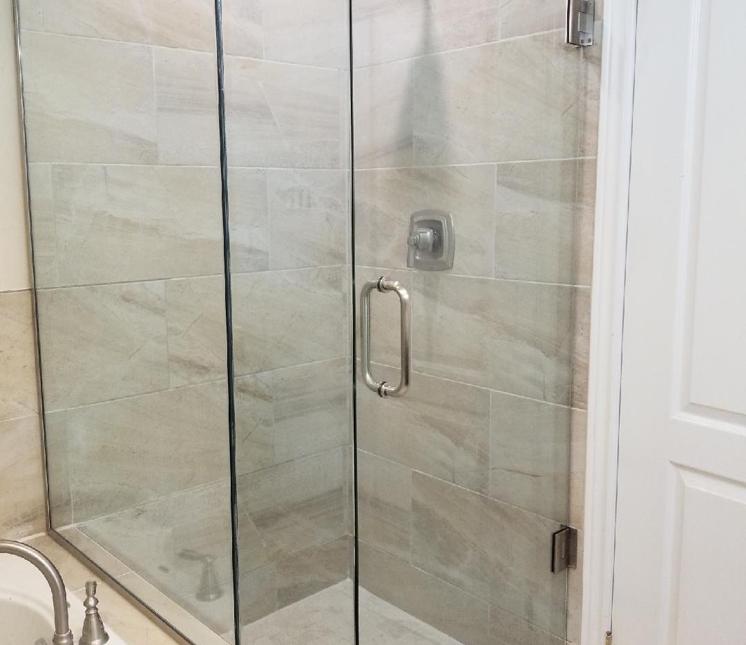 Custom Glass Shower with Bathtub