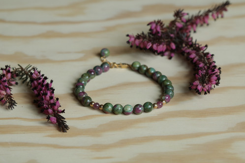 Colourful Bracelet From Ruby In Zoisite Looks Like A Small Landscape Is Perfect For 17 19 Cm Wrist