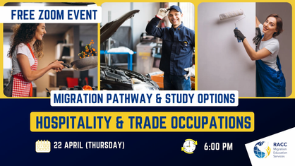 Free Event: Migration Pathway and Study Options: Hospitality & Trade Occupations