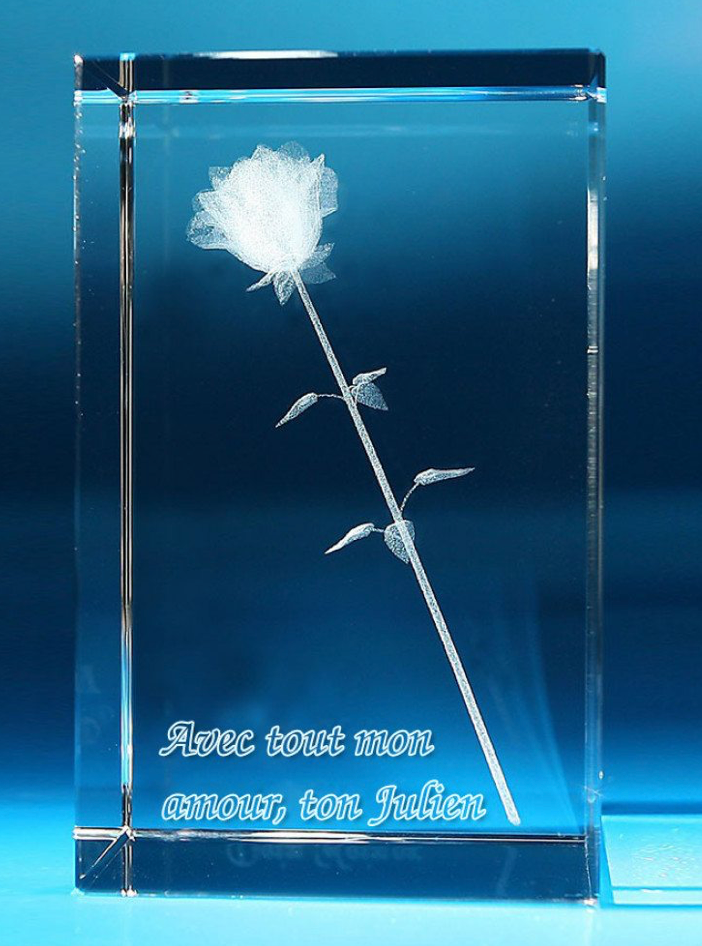 Rose 3D dans verre
